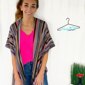 Step Out of Line Kimono- Navy/Pink