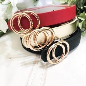 Seeing Double Belt Set- Red, Metallic Gold, Black