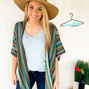 Step Out of Line Kimono- Green/Blue