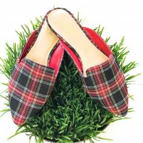 Taking the High Road Mules- Red Plaid