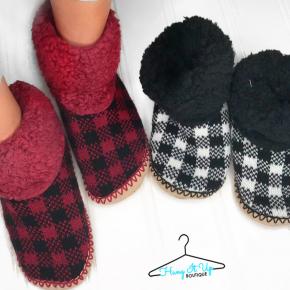 Furry Buffalo Plaid Slippers- 2 Colors!