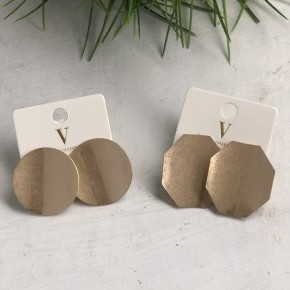 Worn Gold Bent Disc Earrings