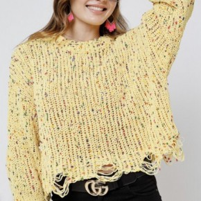 Yellow Speckled Sweater with Distressing