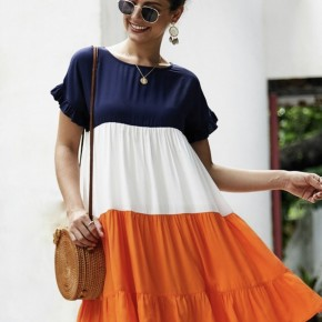 Orange & Blue Tiered Dress *Final Sale*