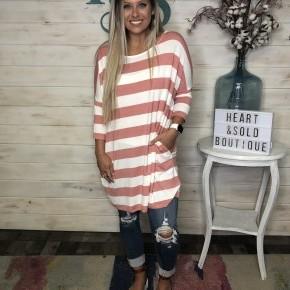 Zenana Rose/Ivory Stripe Tunic