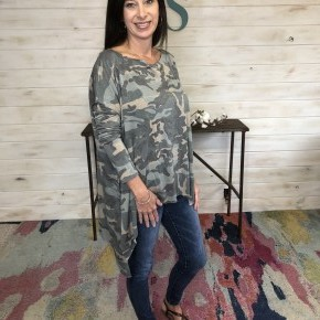Camo French Terry Boat Neck Top