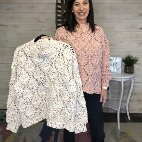 Adora Speckled Sweater (Cream & Pink)