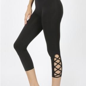Capri length leggings with lattice detail *Final Sale*