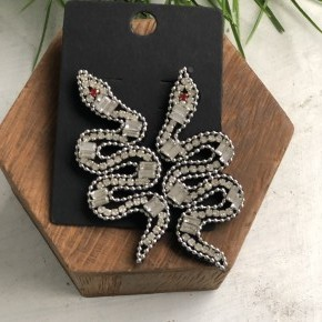 Clear Stone Snake Earrings