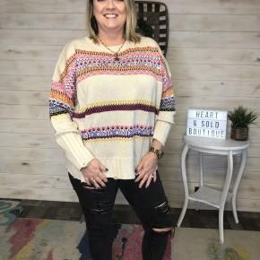 Easel Boho Patterned Sweater *Final Sale*