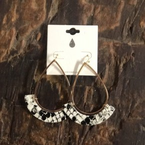 Crescent Accent Dangle Earrings with Faux Leather Animal Print