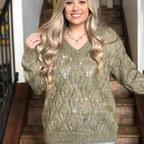 Adora Olive V-neck Sweater