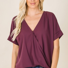 Criss Cross Layered Top with Front Draped Detail