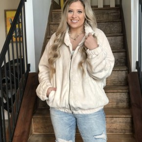 Faux Knit Zippered Jacket
