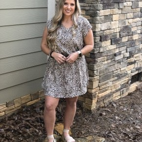Smocked Waist Leopard Dress
