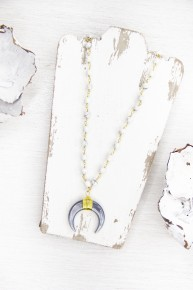 Howlite and Crescent Necklace