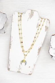 Iridescent Crescent Double Wrap Necklace