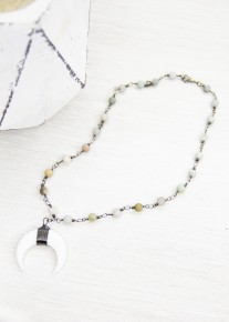 Amazonite and Crescent Necklace