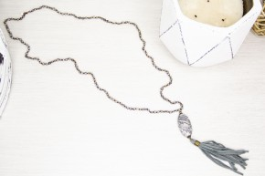 Gemstone and Leather Tassel Necklace