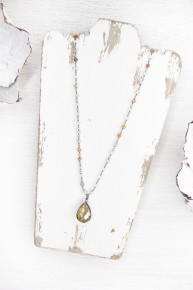 Moonstone and Crystal Teardrop Necklace