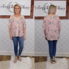 Grid and Floral Top