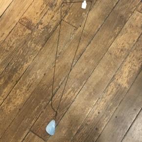 Long Aqua Oval Necklace