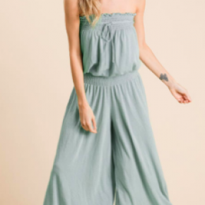 Solid Strapless Wide Leg Tube Jumpsuit