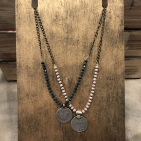 Coin and Crystal Necklace
