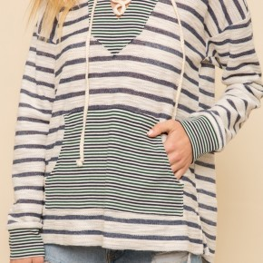 Mixed  Stripe Lace Hoodie