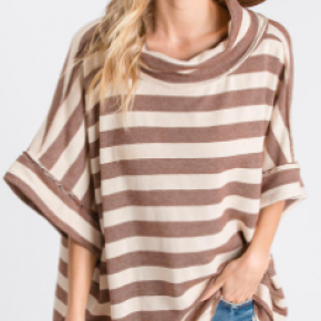 Brown/Ivory Striped Top