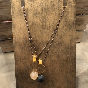 Circle Round Stone Necklace