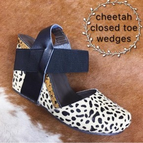 Cheetah Closed Toe Wedges