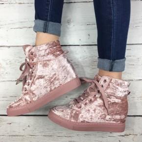 Missy Mauve Velvet Sneakers