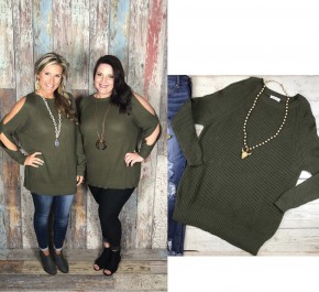 Content & Cozy Olive Sweater FINAL SALE