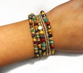 Multi Color Beaded Stack Bracelet