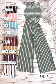 Striped Jumpsuit w/ Elastic Waistband