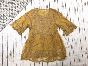 Floral Embroidered Mesh Tunic