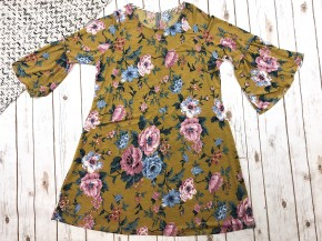 Vintage Floral Bell Sleeve Dress