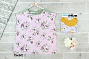 Floral Contrast Short Sleeve Top
