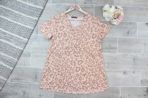 Cheetah Print V Neck Top