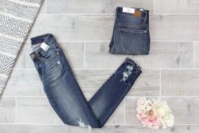 Distressed Tacked Hem Skinny Jean