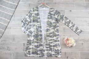 Distressed Camo Cardigan