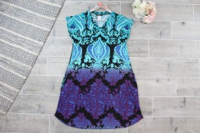 Pretty In Purple And Teal V Neck Dress