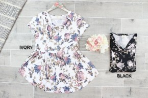 Cowl Neck Floral Babydoll Top
