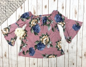 Floral Off the Shoulder Top with Bell Sleeves