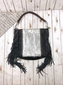 Upcycled Large Tote Bag with Fringe