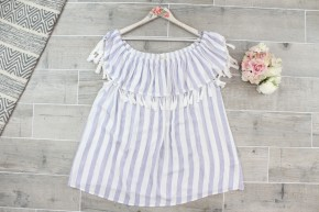 Tassel Off the Shoulder Striped Top