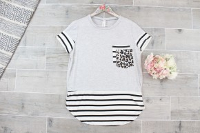 Grey Striped Double Party Pocket Tee