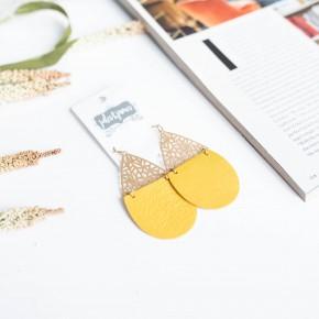 Yellow Two Tone Earrings