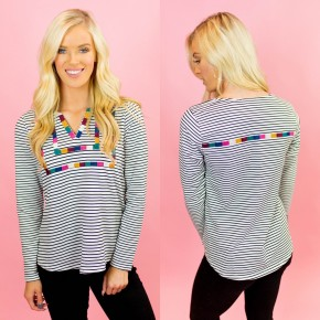 My Sweet Side Embroidered Striped Top